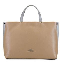 Кожаная сумка с карманом для ноутбука, бежево - серый, 92-4E-310-9, Фотография 1
