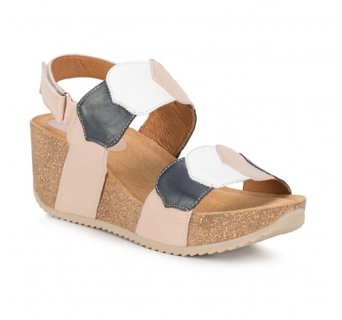 Обувь женская, бежево-синий, 88-D-711-8-37, Фотография 1