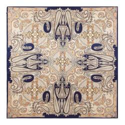 Шелковый шарф большой, бежево-синий, 93-7D-S45-7, Фотография 1