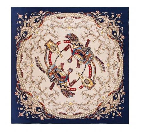 Женский шелковый шарф, бежево-синий, 91-7D-S38-X1, Фотография 1