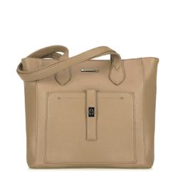 Классическая сумка-шоппер с фронтальным карманом, бежевый - серебристый, 29-4Y-002-9, Фотография 1