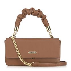 Женская сумка через плечо на цепочке с рюшами на ручке, бежевый, 91-4Y-406-5, Фотография 1
