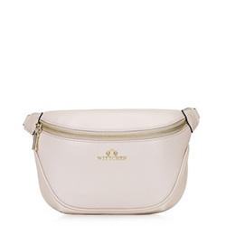 Кожаная сумка на пояс с цепочкой, бежевый - серебристый, 92-4E-657-00, Фотография 1