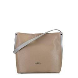 Кожаная сумка-шоппер, бежевый - серебристый, 92-4E-311-9, Фотография 1