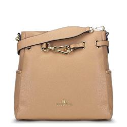 Кожаная сумка с декоративной пряжкой, бежевый, 91-4E-601-9, Фотография 1