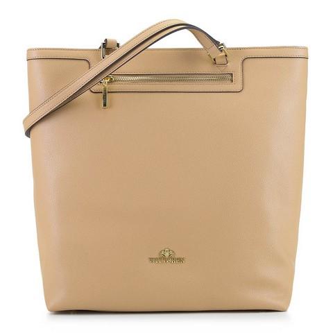Кожаная сумка-шоппер, бежевый, 92-4E-600-9, Фотография 1