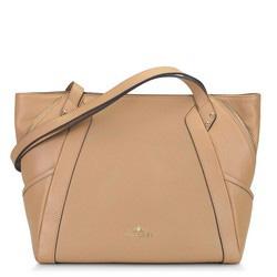 Кожаная сумка-шоппер с декоративной застежкой-молнией, бежевый, 92-4E-646-9, Фотография 1