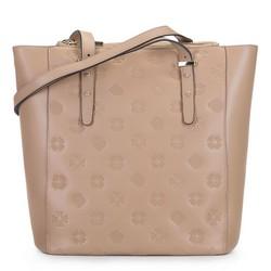 Кожаная сумка-шоппер с тиснением монограмм, бежевый - серебристый, 92-4E-696-9, Фотография 1