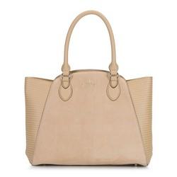 Кожаная сумка-тоут с замшевой вставкой, бежевый, 92-4E-618-9, Фотография 1