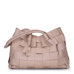 Плетеная кожаная сумка-шоппер, бежевый - серебристый, 92-4E-900-9, Фотография 1