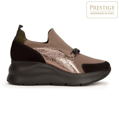 Женские замшевые кроссовки с цепочкой, бежевый - серебристый, 93-D-653-X1-38, Фотография 1