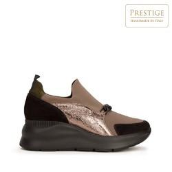 Женские замшевые кроссовки с цепочкой, бежевый - серебристый, 93-D-653-X1-40, Фотография 1