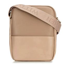 Мужская сумка из экокожи с двумя текстурами, бежевый - серебристый, 92-4P-500-5, Фотография 1