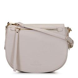 Женская сумка через плечо из мягкой кожи, бежевый - серебристый, 92-4E-200-0, Фотография 1