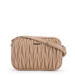 Женская гофрированная сумка через плечо, бежевый, 91-4Y-602-9, Фотография 1