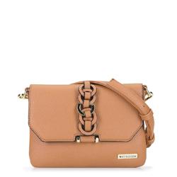 Женская сумка через плечо с переплетеньем, бежевый, 92-4Y-241-5, Фотография 1