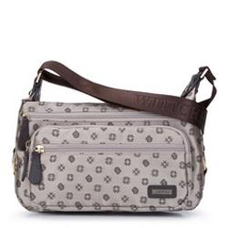 Женская сумка через плечо из жаккарда с монограммой и кожей, бежевый - серебристый, 93-4-249-9, Фотография 1