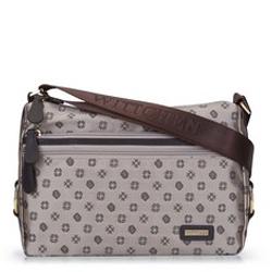 Женская сумка через плечо из кожи и жаккарда с монограммой, бежевый, 93-4-251-9, Фотография 1