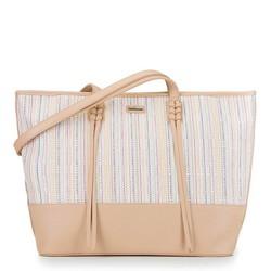 Плетеная сумка-шоппер, бежевый - серебристый, 92-4Y-556-5, Фотография 1