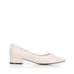 Туфли из матовой кожи с заостренным носком, бежевый - серебристый, 92-D-954-P-38, Фотография 1