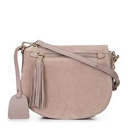 Женская сумка через плечо saddle bag из замши, бежевый - серебристый, 92-4E-206-5C, Фотография 1