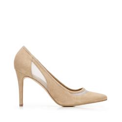 Замшевые туфли на каблуке с сеткой, бежевый - серебристый, 92-D-550-9-36, Фотография 1