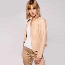 Женская байкерская приталенная куртка, бежевый, 92-9P-102-9-L, Фотография 1