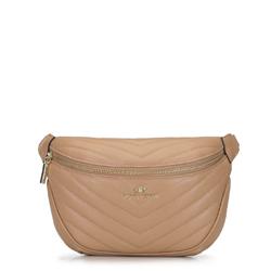 Женская кожаная сумка на пояс стеганая по диагонали, бежевый - серебристый, 92-4E-656-9, Фотография 1