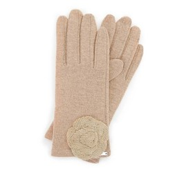 Женские шерстяные перчатки с декоративной розой, бежевый, 47-6-X90-5-U, Фотография 1