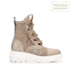 Женские замшевые ботинки на шнуровке, бежевый - серебристый, 92-D-162-9-41, Фотография 1