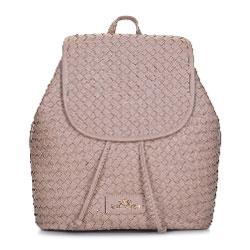 Женский плетеный кожаный рюкзак, бежевый - серебристый, 92-4E-902-9, Фотография 1