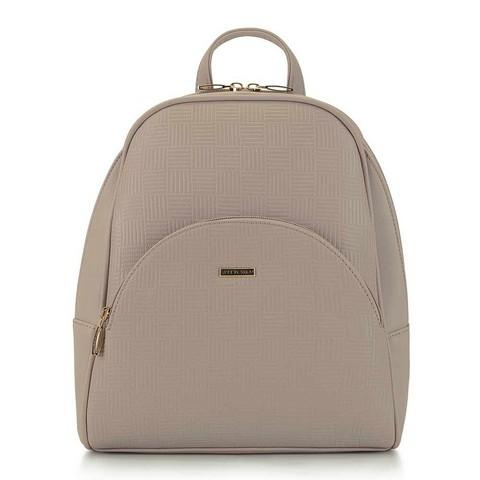 Женский рюкзак с закругленными линиями, бежевый, 29-4Y-008-PE, Фотография 1
