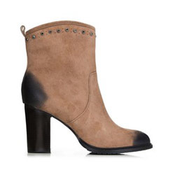 Dámské kotníkové boty s kamínky, béžová, 91-D-959-5-39, Obrázek 1