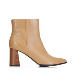 Dámské kotníkové boty s podpatky z imitace dřeva, béžová, 91-D-958-9-36, Obrázek 1