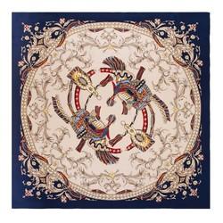 Dámský hedvábný šátek, béžovo-tmavěmodrá, 91-7D-S38-X1, Obrázek 1