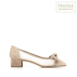 Alacsony sarkú cipő masnival és hálóval, bézs - ezüst, 92-D-101-9-39_5, Fénykép 1