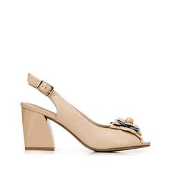 Blokk sarok peep toe bírósági cipő, bézs, 92-D-552-9-38, Fénykép 1