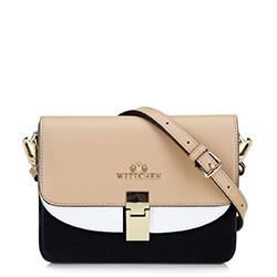 Női bőr küldött táska dupla fedéllel, bézs-fekete, 92-4E-631-9, Fénykép 1