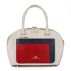 Bőr táska többszínű zsebbel, bézs-piros, 92-4E-623-0, Fénykép 1