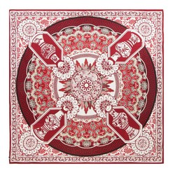 Šátek, bílá - vínová, 91-7D-S31-X2, Obrázek 1