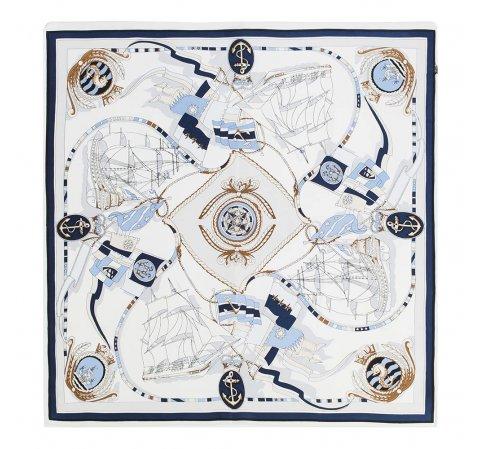 Dámský šátek, bílo-tmavěmodrá, 87-7D-S22-X3, Obrázek 1