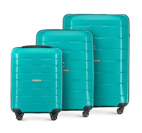 Комплект чемоданов, бирюзовый, 56-3T-72S-85, Фотография 1