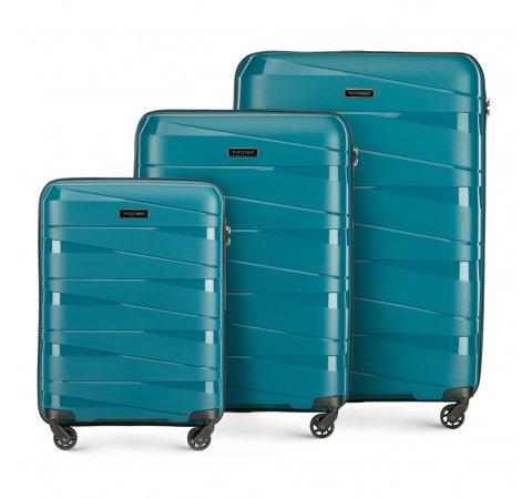 Комплект чемоданов, бирюзовый, 56-3T-79S-10, Фотография 1