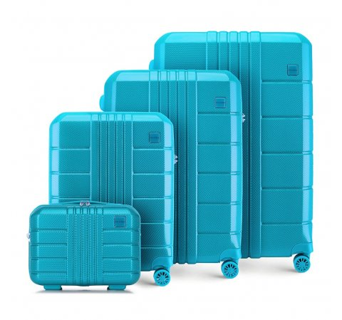 Комплект чемоданов из поликарбоната, бирюзовый, 56-3P-82K-90, Фотография 1