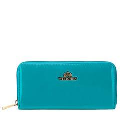 Женский лакированный кошелек на молнии, бирюзовый, 25-1-393-M, Фотография 1