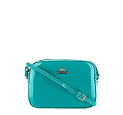 Женская сумка через плечо из лакированной кожи, бирюзовый, 25-4-589-M, Фотография 1
