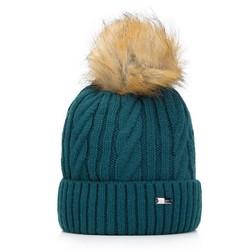 Женская шапка с косами, бирюзовый, 93-HF-021-N, Фотография 1