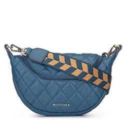 Gesteppte Lederhandtasche mit Sackleinengurt, blau, 93-4E-621-Z, Bild 1