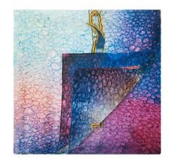 Damen-Schal, blau-rosa, 84-7D-S42-X01, Bild 1