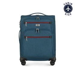 Kabinenkoffer mit farbigem Reißverschluss, blaugrün, 56-3S-501-91, Bild 1